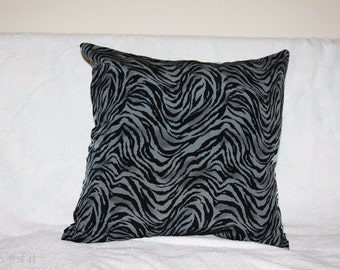 Zebra Print Pillow Cover in Grey/Gray and Black 16 x 16