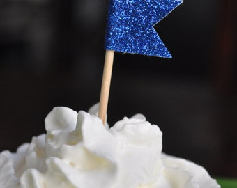 Royal Blue Glitter Cupcake flag toppers - Party picks set of 12