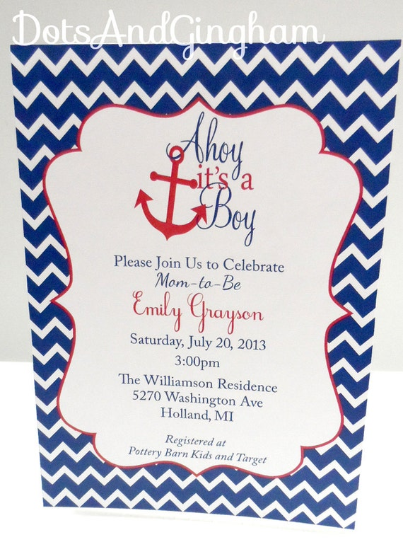 Items Similar To Ahoy It S A Boy Invitation Chevron Ahoy Its A Boy