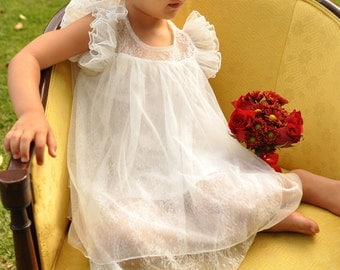 The Melanie ivory lace and tulle Flower Girl Dress. baptism dress. birthday dress. christening dress.