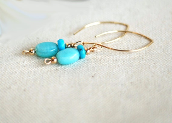 adrift... gold opal turquoise earrings / aqua blue peruvian opal & flat turquoise rondelle 14k gold filled / october december birthstone