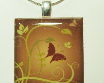 Butterfly pendant, Little Square Pendant - Butterfly necklace - Scrabble tile Pendant on Sterling Silver 925 bail and chain