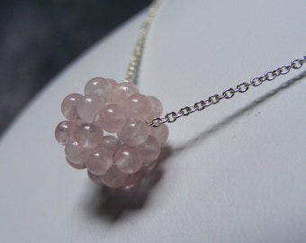 Rose Quartz Dodecahedron - Ball Cluster pendant necklace