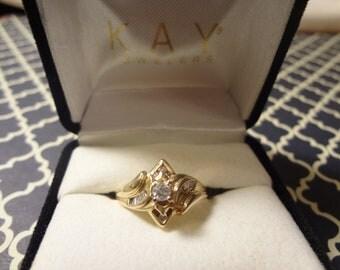 14k Gold Diamond Engagement Ring Gold Anniversary Ring Size 7 Gift Birthday Anniversary Yellow Gold Bride Groom Wedding Ring Band