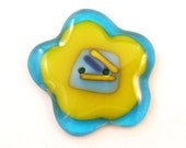 ONE Fused Glass Flower Focal Button.  Handmade Button. LARGE blue and yellow glass Sew On Focal Button.