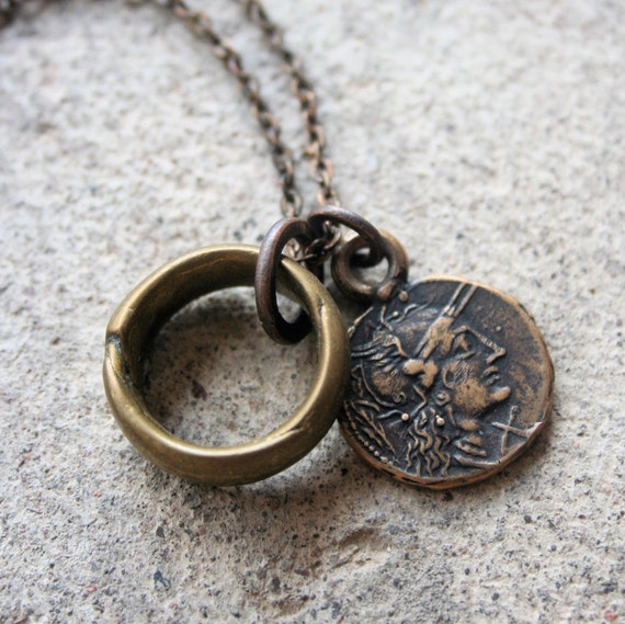 Roman Solid Bronze Coin Necklace and Antique African Brass Ring