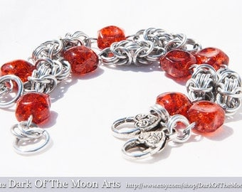 Byzantine Chain Maille Bracelet with Amber Beads and Silver Heart Clasp