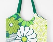 Beach tote/ market bag: green retro flowers MADE TO ORDER