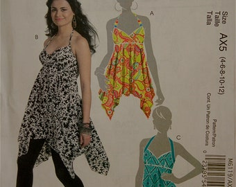 Halter Top Shaped Hem McCall's  Pattern 6119 Uncut  Sizes 4-6-8-10-12  Bust 29.5 to 34""