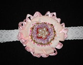 FREE SHIPPING  Pink beaded flower baby headband, unique head accesorry for girls
