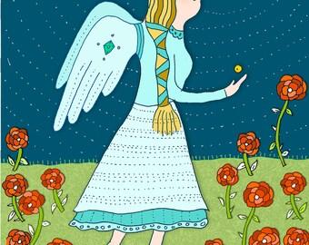 Angel in the Garden 4.5 x 6.25 card