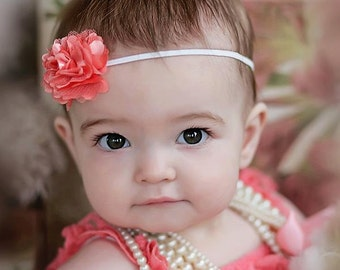 Baby Headband, Mini Flower Headband Baby girl headband Newborn headband Petite flower Baby Bow