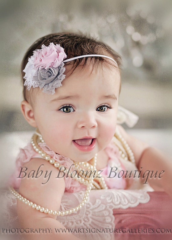 baby headband baby girl headband gray shabby headband. Black Bedroom Furniture Sets. Home Design Ideas