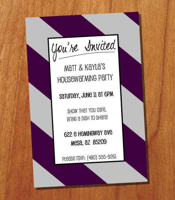 Housewarming Party 4x6 Custom Printable Invitation, Digital Invitation by Forty Seven Design ...