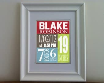 Baby Birth Announcement  Print ,Boys Nursery  Art , Personalized Birth Stats for baby boys