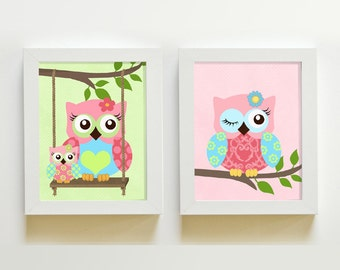 Owl Nursery Art  -  Nursery art Set of 2 - 8X10 Prints - owls -  Pink and Aqua Nursery Prints- Owl Decor for Girl Room