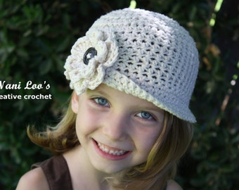 100%  COTTON Girls Crochet Hat with removable FLOWER Cream. Fits girls 2T-5T. Brimmed Beanie
