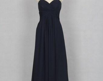 Dark Navy Bridesmaid Dress, A-line Sweetheart Floor-length Chiffon Bridesmaid Dress