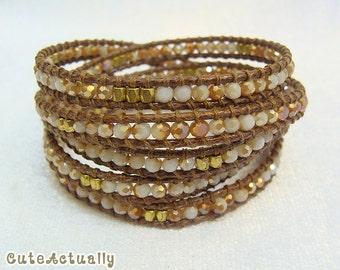 Brown orange white crystal wrap bracelet with gold plated beads on polyester cord