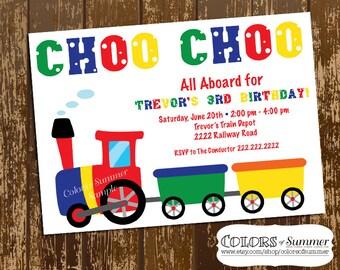 Train Party Birthday Invitation, Train Birthday Invitation, Train Birthday Invite, Train Party, Choo Choo, All Aboard, Conductor, Digital