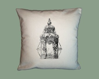 Vintage Ornate Gothic Lantern HANDMADE 16x16 Pillow Cover- Choice of Fabric- image in ANY COLOR