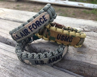 Military Paracord Bracelet with Name Tape / Army / Air Force / Marines