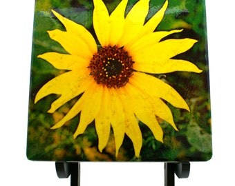 """Yellow Wild Flower 6"""" Art Tile  with Wooden Display Easel"""