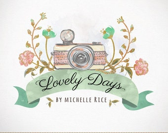 Photography Logo Custom Premade Watercolor Camera & Flowers Design for Photographers