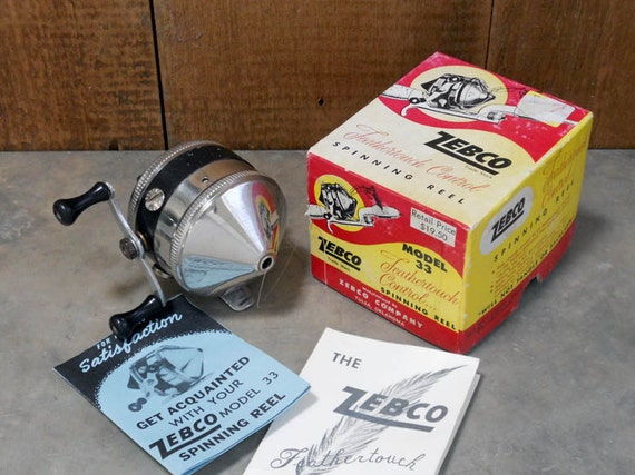 Vintage Zebco Model 33 Feathertouch Reel with Original Box &
