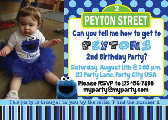 Cookie monster sesame street birthday invitation custom digital il570xn filmwisefo
