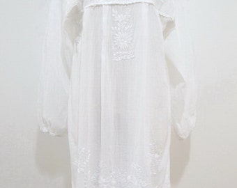 Mexican Embroidered Dress Long Sleeves White Cotton Tunic, Boho Dress, Gypsy Dress