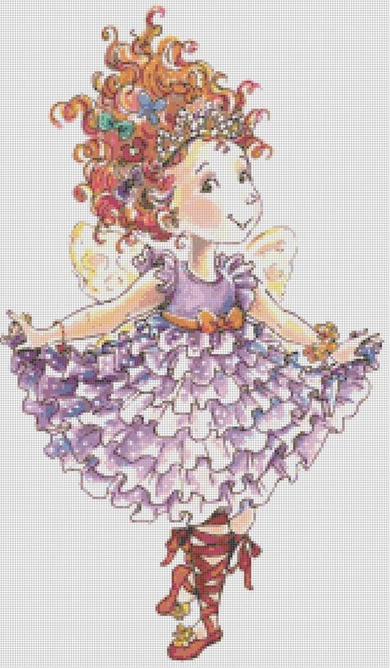 Fancy Nancy Takes a Bow Handmade Altered Art PDF Cross-Stitch Pattern
