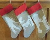 Burlap Christmas Stocking w/ painted Santa & Child image Red cuff