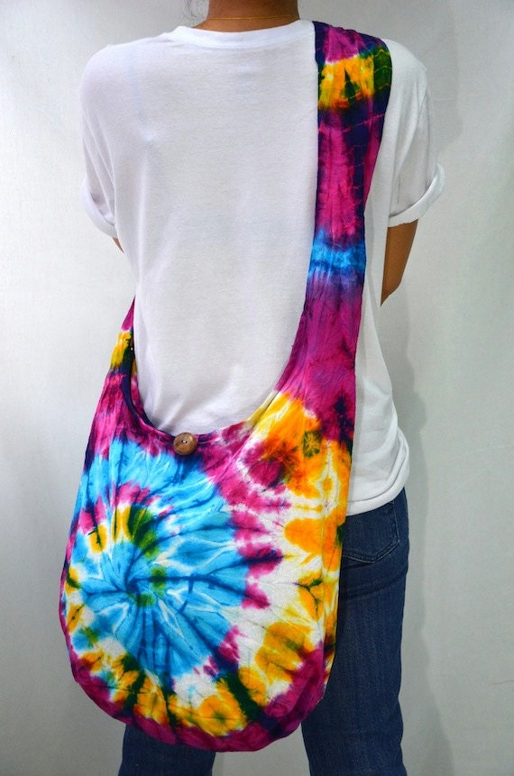 Tie Dyed Hippie Hobo Boho Cross Body Bag Messenger Purse S91995