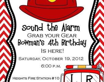 Fire truck invitation, Firehat Invitation, Fire Fighter Invitation, Boy Firetruck Invitation, Firetruck Digital Invitation