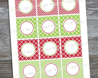 INSTANT DOWNLOAD Christmas Party Circles | Editable printable 2 inch cupcake topper red  lime green christmas party - PDF File