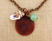 Finn's Trident Necklace with Shell and Sea-Green Bead