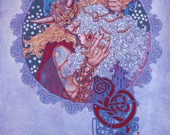 "Irish Fantasy Art Print 16x11"".Celtic, Irish, Ireland, Fine Art Print, Goddess, Princess, Witch, Wizard, Witchcraft, Sexy, Love, Romance."