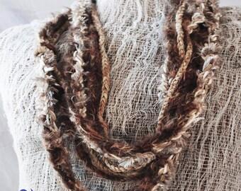 Womens Brown scarf Skinny Scarflettte infinity scarf Deevinci  handmade READY TO SHIP