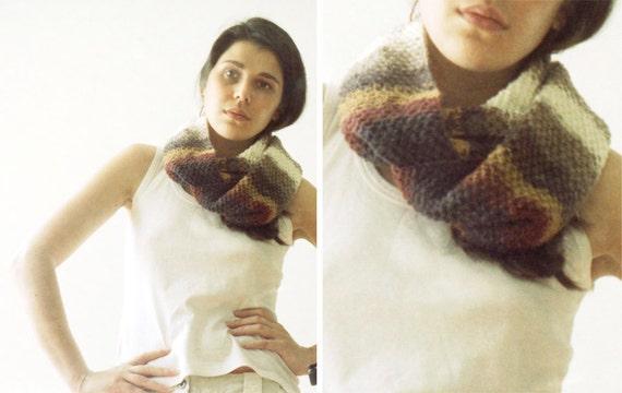 Knit infinity scarf multicolor - women circle scarf - loop neckwarmer
