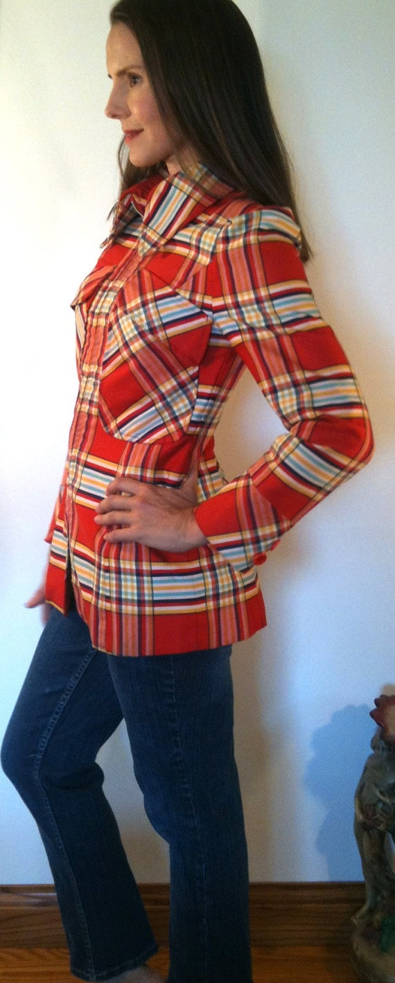 Vintage 1940s avant garde / spectacular structure gaberdine jacket / flame red & blue plaid / size small