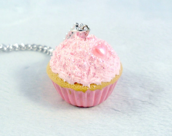 Kawaii Pink Cupcake Charm Necklace :)