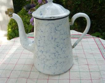 Enamel white blue marbled coffee pot France country life kitchen utensil decor summer breakfast in the garden farmhouse retro decor vintage.
