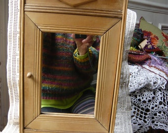 Doll wooden  armoire miniature wardrobe 1900 natural color wood one door with a mirror made in France collectible doll furniture dollhouse