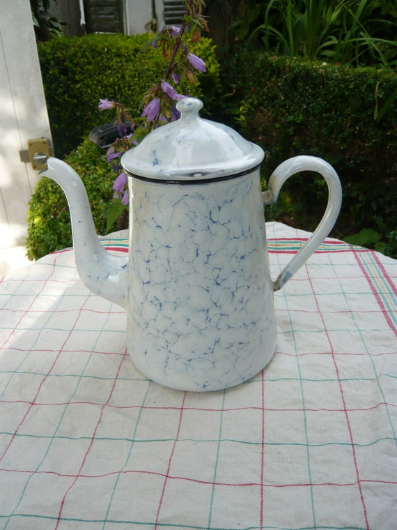 French country enamel white and blue marbled coffee pot,shabby chic,country style,rustic