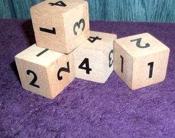 Vintage 4 Block Logic Puzzle Game, Crazy Cubes, Solid Wood Pieces Classic Puzzler