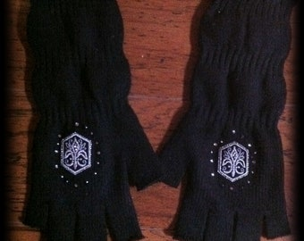 SteamPunk, Fingerless Fleur de Lis  Gloves,  Great for Winter/Holiday Gift, Black Knit