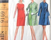 Vintage 1968 McCalls dress pattern bust size 32.5 inches, number 9159