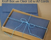 """12 sets -  A7 Kraft Box with Clear Lid - 5 3/8"""" X 1"""" X 7 1/2"""" - Packaging for Greeting Card Sets and more"""