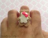 Large kawaii bear cookie ring - polymer clay
